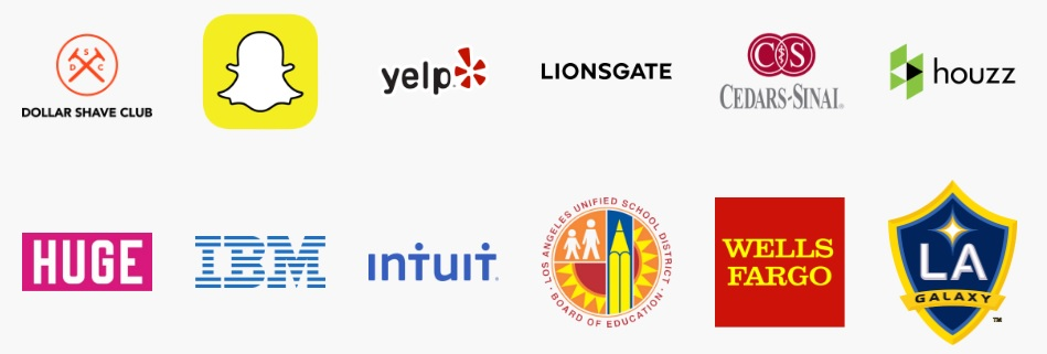Where BCLA Graduates are employed: Dollar Shave Club, Snapchat, Yelp, Lionsgate, Cedars-Sinani, Houzz, Huge, IBM, Intuit, Los Angeles School District, Wells Fargo, LA Galaxy