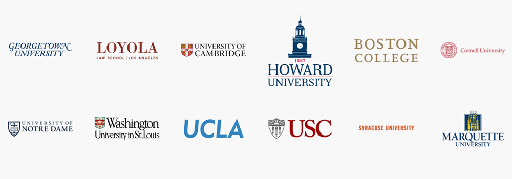 Where BCLA students go for Graduate School: Georgetown University, Loyola Law School, University of Cambridge, Howard University, University of Notre Dame, Washington University in St. Louis, UCLA, USC, Boston College, Cornell University, Syracuse University, Marquette University